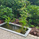 Kleiner Miniteich mit stilistischen Wasserpflanzen und Wasserspiel - Slink | Ideen mit Wasser
