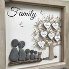 Pebble Art Family Tree pictures, with any wording added to personalise your unique gift