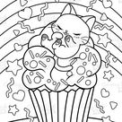A sleeping kitten on the Cupcake Coloring Page. Cute Kawaii Coloring Book for Kids