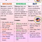 Using Because, Whereas, But in English, Conjunctions and Example Sentences   English Grammar Here
