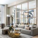 Modernes Wohnzimmer | Stehleuchte | Goldener Couchtisch