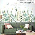Luanqi Green Leaves Wall Stickers for Home Living Room Vinyl Wall Decal Tropical Plants Wall Sticker Door Murals Wallpaper Decor - 101-09