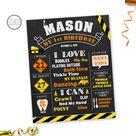Construction Birthday Board | Construction Birthday Poster | Construction Chalkboard Sign | Construction First Birthday Chalkboard