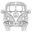 Retro Bus Zentangle Floral stock photos and royalty-free images, vectors and illustrations
