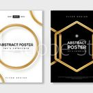Set of minimal design posters, frame template layout with 3d gold metal shapes, border elements, modern art deco style. Vector illustration. Brochure cover concept, voucher typography template. Stock Vector