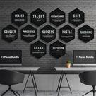 Hexagon Canvas Prints Bundle Office Decor Motivational Modern Wall Art Hustle Success Hexagonal Definition Set Of 3x, 5x, 7x, 9x, 11x Pieces