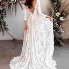 Long Sleeve Wedding Dress, Open Back Wedding Dress, Low Back Wedding Dress, Boat Neck Wedding Dress, Boho Wedding Dress - Ari Dress