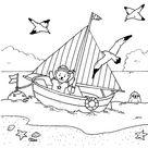 Ausmalbild Transportmittel: Kleiner Bär im Segelboot kostenlos ausdrucken