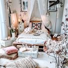 boho chic furnishing teenager room girl decor tree white flower fluffy pillows bed from pallet with
