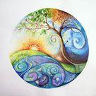 Spiritual art healing art intuitive art mandala: Tree   Etsy