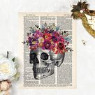 anatomy art prints   skull with watercolor flowers print   dictionary art   pink, purple, yellow watercolor flowers