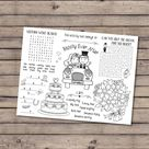 Kids wedding activity coloring placemat, wedding reception favor, kids wedding table, wedding activities for kids, games - INSTANT DOWNLOAD