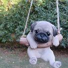 ChosenTreasures4You Pug Dog in a Swing