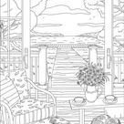 Village View  Printable Adult Coloring Page from Favoreads | Etsy