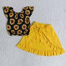 Girl Sunflowers Yellow Shorts Skirt Outfit - 7-8T