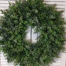 Green Eucalyptus Wreath for Front Door  / Farmhouse Wreaths for Walls / Silk Eucalyptus Wreath / All Greenery Front Door Wreath