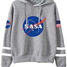 FLYCHEN Women's NASA Logo Hoodie National Space Administration Sweatshirt - Gray / Small