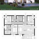 Bungalow Haus modern weiss mit Walmdach & Putz Fassade bauen, Fertighaus Winkelbungalow Grundriss