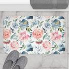 Boho Chic Bath Mat and Rug, Dusty Pink Blue, Roses luxury Fancy, Botanicals in Watercolor, Bathroom