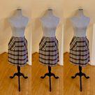 70s Vintage Plaid Skirt Patch Pockets Front Kick Pleat Belt | Etsy