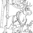 Snowman Olaf And Sven Reindeer Coloring Pages Printable