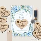 BLEIN - Wooden Heart Save the Date, Save the Date Magnet, Wood Magnet Save the Date, Wedding Save our Date Magnet, Blue Floral Wooden Magnet