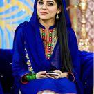 Sanam Baloch Cute looking in Blue shalwar kameez