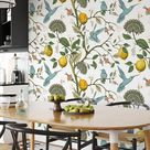 Removable Lemon Branch Wallpaper with Humming Birds, Leaves, removable wall decoration, peel and sti