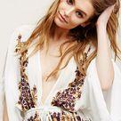 Boho Chic Deep V neck Batwing Sleeve Embroidered Mini Dress