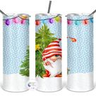 Gnome Christmas Lights Printed Double Walled Stainless Steel Tumbler | Christmas Gnome Tumbler
