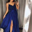 Royal Blue Prom Dress with Slit, Prom Dresses, Evening Dress, Dance Dress, Graduation School Party Gown, PC0406 - 14 / Navy
