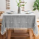 Mokani Washable Cotton Linen Solid Embroidery Checkered Design Tablecloth, Square Table Cover Great for Kitchen Dinning Tabletop Buffet Decoration - A. Gray / Square, 55 x 55 Inch