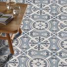 Vinyl Floor Tile Sticker - Floor decals - Carreaux Ciment Encaustic Messina Tile Sticker Pack in Carbon