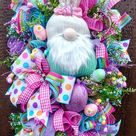 Easter Bunny Gnome Wreaths, Front Door Wreaths, Gnome Easter Decor, Easter Egg decorations, Spring Door Decor, Easter Gnome, Spring decor