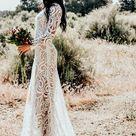 Wedding Dress Boho Wedding Dress Bohemian Boho Sheer Embroidered Lace Sequins Long Sleeve Gown W/ Train Saldana Vintage Elopement Kinsley