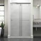 Delta Simplicity 48 In. X 71-1/2 In. Mod Semi-Frameless Sliding Shower Door In Chrome & 3/8 In. (10Mm) Rain Glass Tempered Glass in Gray | Wayfair