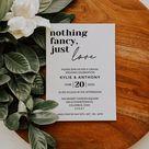 Nothing Fancy, Just Love, Minimalistic Wedding Invitation, Instant Download, Digital File, DIY Editable Template