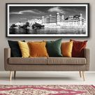 Panorama of City Palace. Udaipur, India Travel poster, Decoration, Wall Art  poster (unframed) 10x24 (inch)