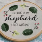 Psalm 23 The Lord is my Shepherd Christian Bible Verse Hand Embroidery PDF Pattern Instant Download