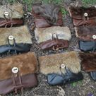 Viking Fur Pouch, Leather Belt Bag, Medieval - The VIKING - /F/ (AB)