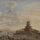 Giovanni Antonio Cesari - The Naval Dockyards at Christianshavn - fine art print - Acrylic glass print (with real glass coating) / 80x60cm - 31x24