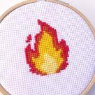 Fire Flame Hot Emoji Funny Cute Cross Stitch Pattern Instant Download