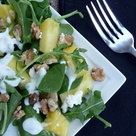 Pineapple Arugula Salad with Toasted Walnuts & Goat Cheese    Spinach Arugula Mix  Fresh pineapple chunks  Goat cheese crumbles  Walnuts, toasted  For Minted Honey Lime Yogurt Salad Dressing    1/4 cup plain nonfat yogurt  1/2 teaspoon dried mint leaves (or if you have fresh, even better!)  1 1/2 teaspoons honey  Juice and zest from 1/2 a lime