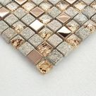Rose Gold and Gray Stone Mosaic Mixed Glass & Stainless Steel #OX022 Bathroom Wall Decor Kitchen Backsplash Tile
