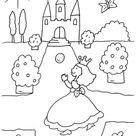 Kostenlose Malvorlage Prinzessin: Prinzessin spielt mit Ball zum Ausmalen