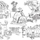 Forest Houses Clipart - Digital Vector Pumpkin, Amanita, Mushroom, Hill, Tree, House Clip Art For Personal And Commercial