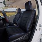 EKR Seat Covers for 2014-2020 Tundra - Leather (Black with Blue Trim) / Fits CrewMax ONLY