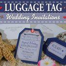 Luggage tag Invitations for a tropical destination wedding or wedding abroad