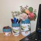 Birds & Flowers Mason Jar Desk Set, Decoupage Jar, Office Desk Organizer, Desk Office Decor, Office Desk Accessories, Pencil Holder, Gift