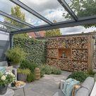 Moderne Schwarze Alu Überdachung terrasse Glasdach Sonnenschutz   Greenline Terrassenüberdachung